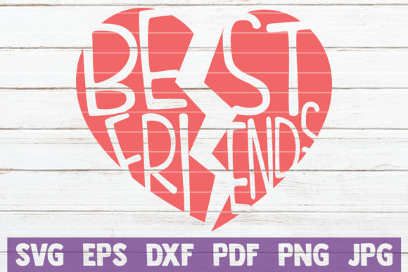 Download Free Best Friends Heart Svg Cut File Graphic By Mintymarshmallows SVG Cut Files
