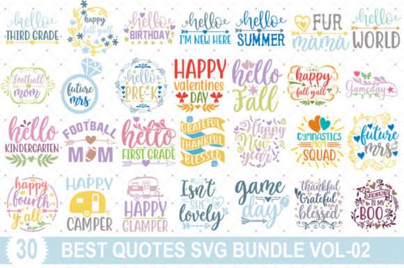Best Quotes SVG Bundle Vol-02 Graphic Print Templates By Graphicsqueen