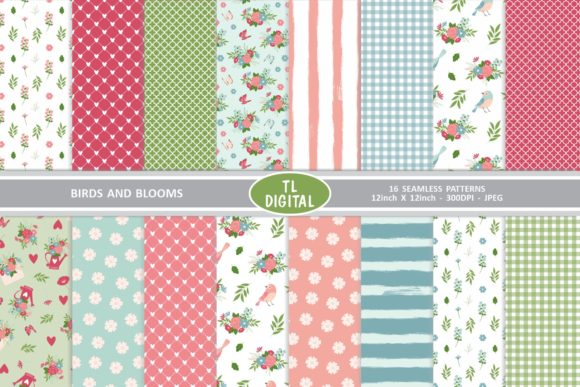 Download Free Birds And Blooms Pattern Pack 16 Papers Graphic By Tl Digital for Cricut Explore, Silhouette and other cutting machines.