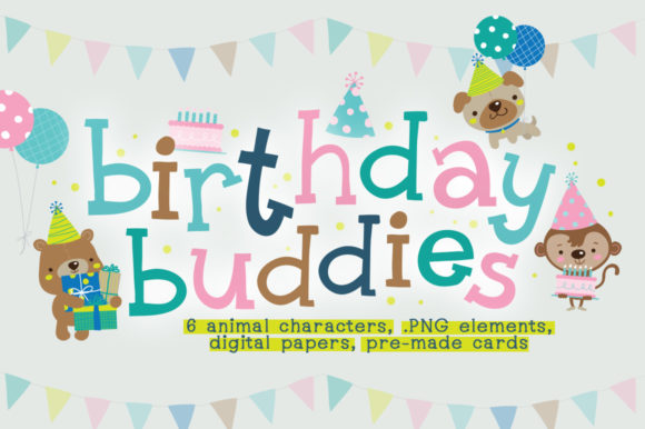 Print on Demand: Birthday Buddies Illustration Pack Graphic Illustrations By Reg Silva Art Shop