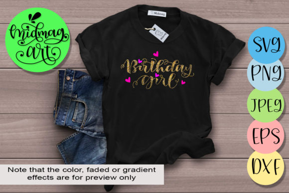 Download Free Birthday Girl Graphic By Midmagart Creative Fabrica for Cricut Explore, Silhouette and other cutting machines.