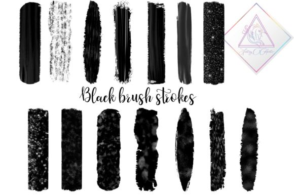 Print on Demand: Black Brush Strokes Clipart Graphic Illustrations By fantasycliparts