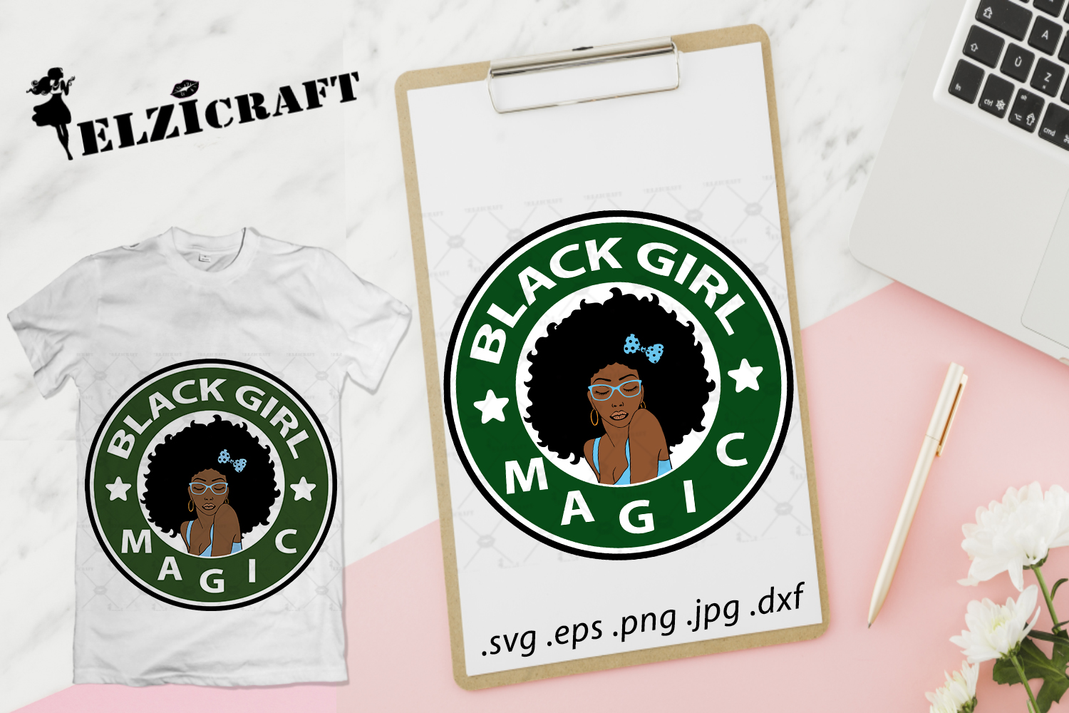 Download Free Black Girl Magic Afro Woman Design Grafico Por Elzicraft for Cricut Explore, Silhouette and other cutting machines.