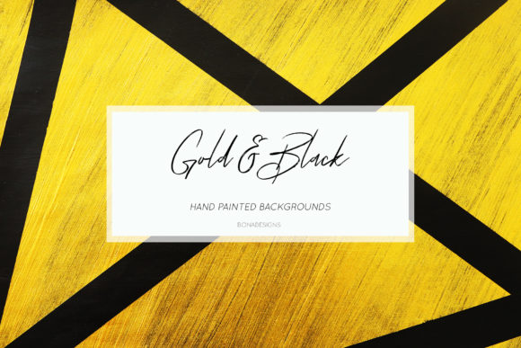 Black & Gold Backgrounds, Hand Painted Graphic Illustrations By BonaDesigns