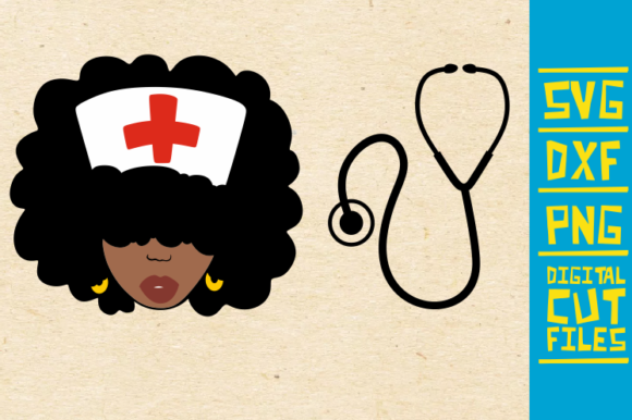 Download Free Black Nurse With Stethoscope Graphic By Svgyeahyouknowme for Cricut Explore, Silhouette and other cutting machines.
