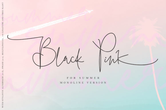Print on Demand: Black Pink Summer Script & Handwritten Font By thomasaradea