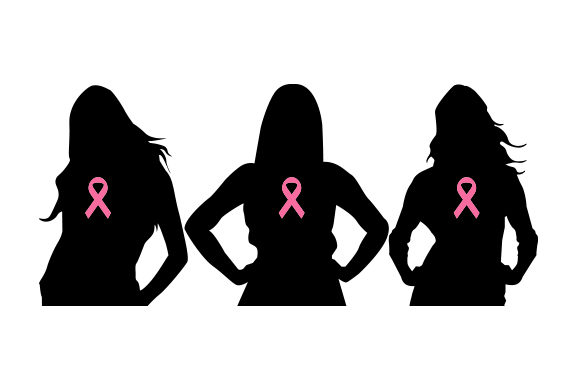 Black Silhouette Of Women With Pink Breast Cancer Awareness Ribbon On Chest Svg Cut File By Creative Fabrica Crafts Creative Fabrica