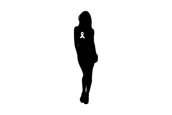 Black Silhouette of Women with Pink Breast Cancer Awarenss Ribbon on Chest Craft Design By Creative Fabrica Crafts Image 2