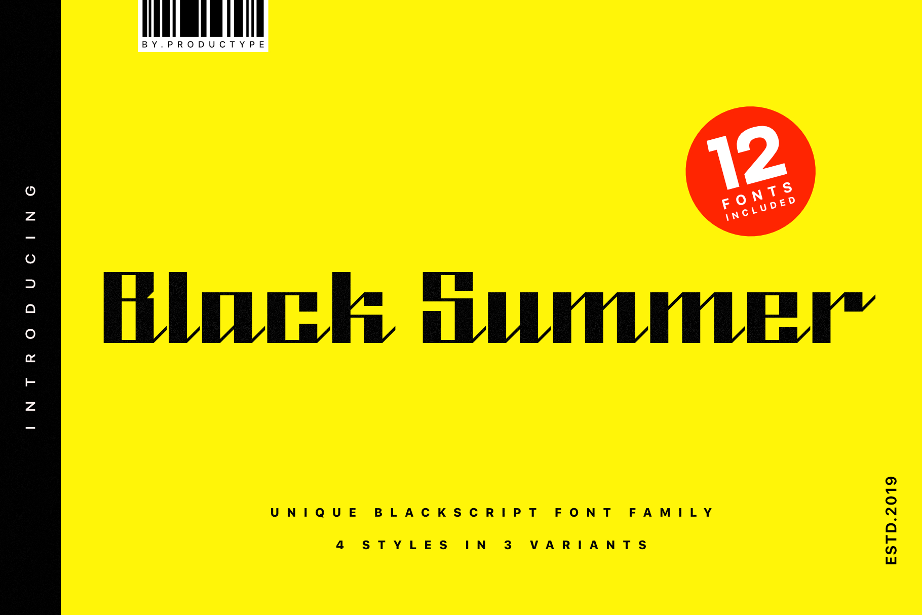 Download Free Black Summer Family Font By Productype Creative Fabrica for Cricut Explore, Silhouette and other cutting machines.