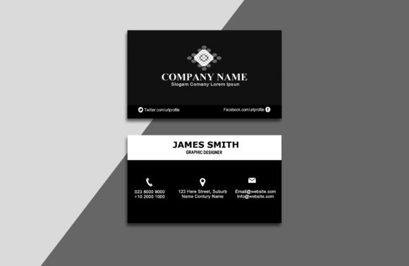 Black & White Business Card Graphic By polahdesign