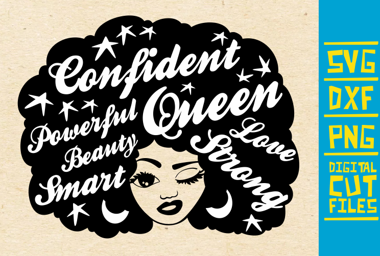 Download Free Black Woman With Words In Hair Graphic By Svgyeahyouknowme for Cricut Explore, Silhouette and other cutting machines.
