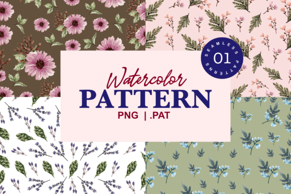 Print on Demand: Bloomy Watercolor Patterns Graphic Patterns By Typia Nesia
