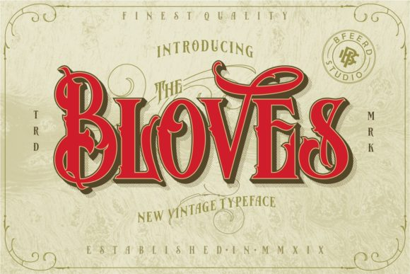 Print on Demand: Bloves Display Font By bagasferdiansahh