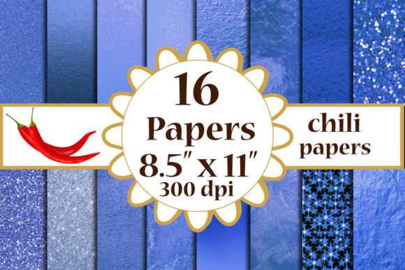Blue Metallic Digital Papers, A4 Papers Graphic Crafts By ChiliPapers