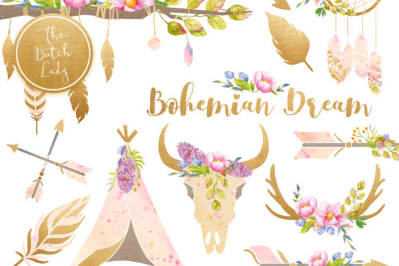Print on Demand: Bohemian Dream Clipart Set Graphic Illustrations By daphnepopuliers