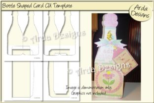 Print on Demand: Bottle Card CU Template Graphic Print Templates By Arda Designs