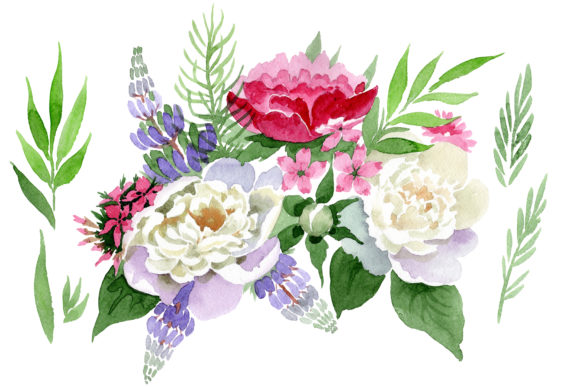 Print on Demand: Bouquet Carnival of Love Watercolor Graphic Illustrations By MyStocks