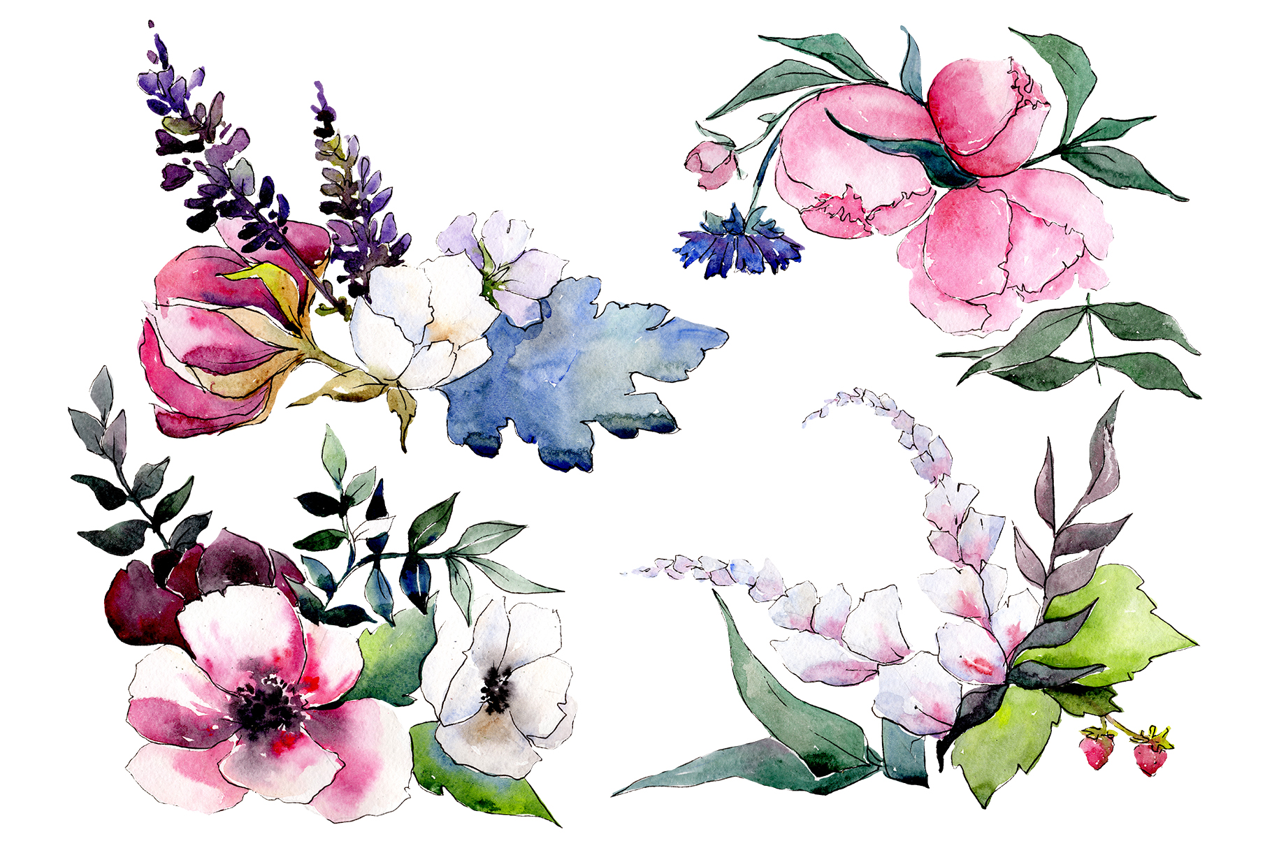 Download Free Bouquet Mrs Watercolor Png Graphic By Mystocks Creative Fabrica for Cricut Explore, Silhouette and other cutting machines.