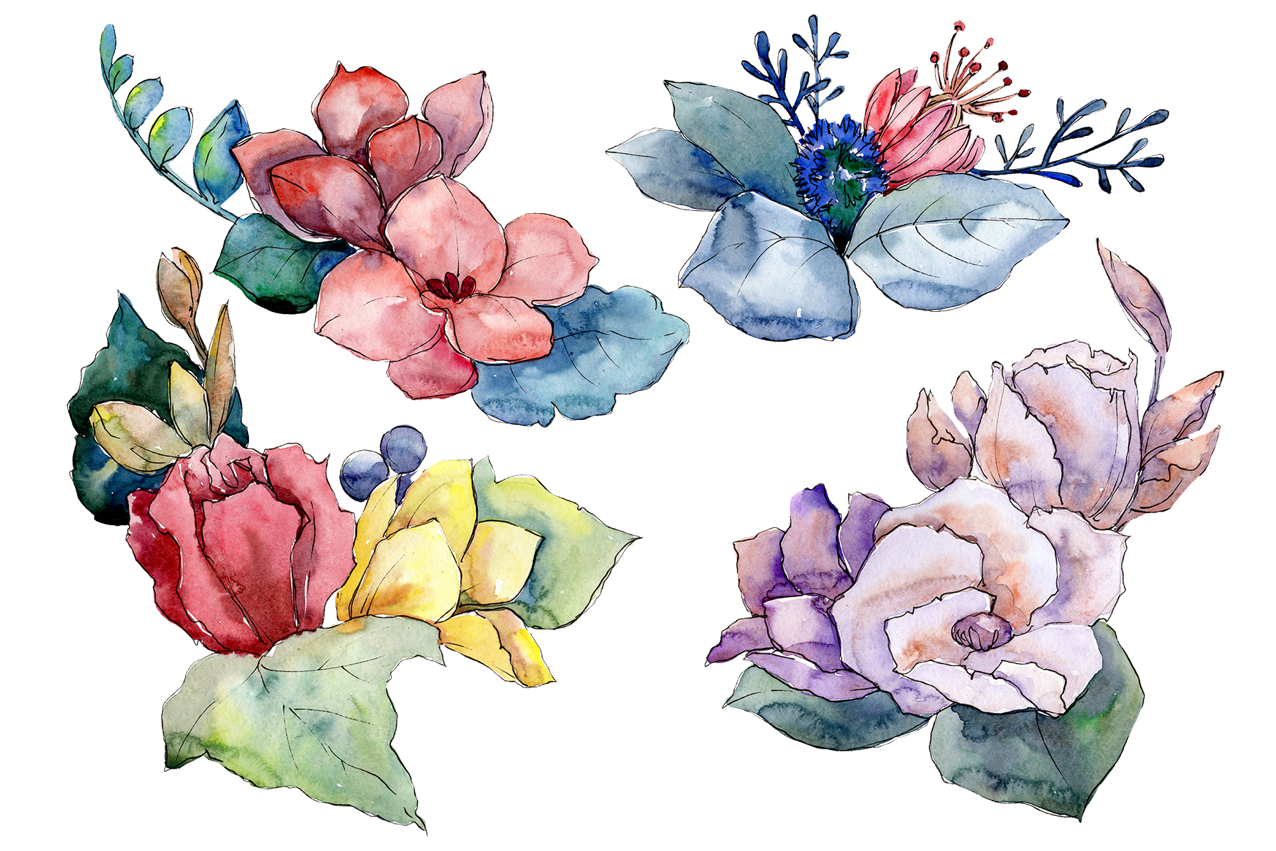Download Free Bouquet Paint Summer Watercolor Png Graphic By Mystocks for Cricut Explore, Silhouette and other cutting machines.