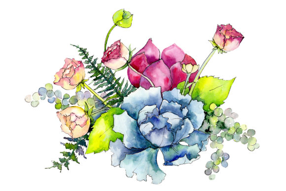 Print on Demand: Bouquet Summer Miracle Watercolor Graphic Illustrations By MyStocks