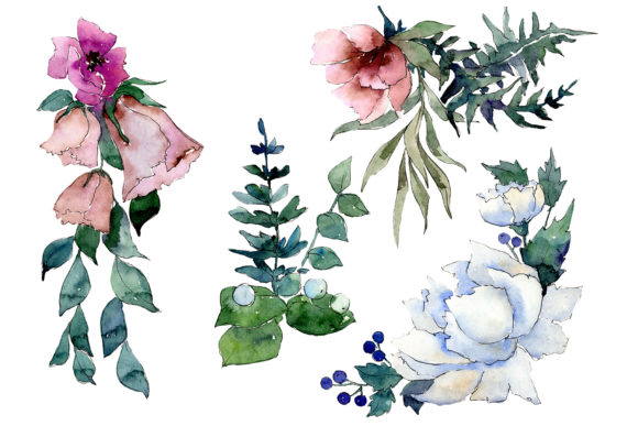 Print on Demand: Bouquet of Flowers Splendor Watercolor Graphic Illustrations By MyStocks - Image 1