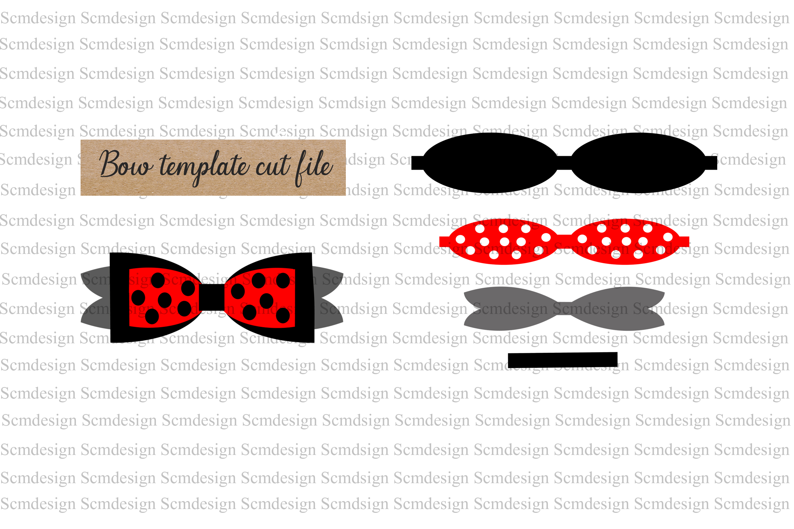 Download Free Bow Template Graphic By Scmdesign Creative Fabrica for Cricut Explore, Silhouette and other cutting machines.