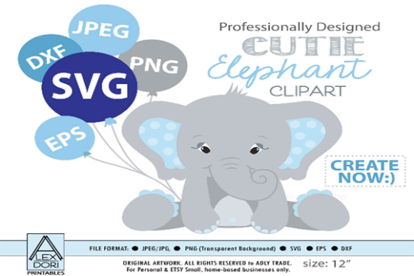 Print on Demand: Boy Elephant, Vector Clip Art, Shower Grafik Illustrationen von adlydigital