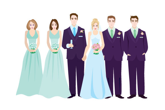 Download Free Bride And Groom With Bridal Party Svg Cut File By Creative for Cricut Explore, Silhouette and other cutting machines.