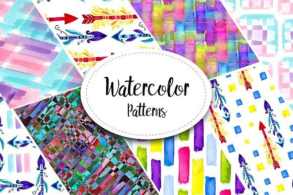 Print on Demand: Bright Watercolor Patterns Graphic Patterns By worldion - Image 1