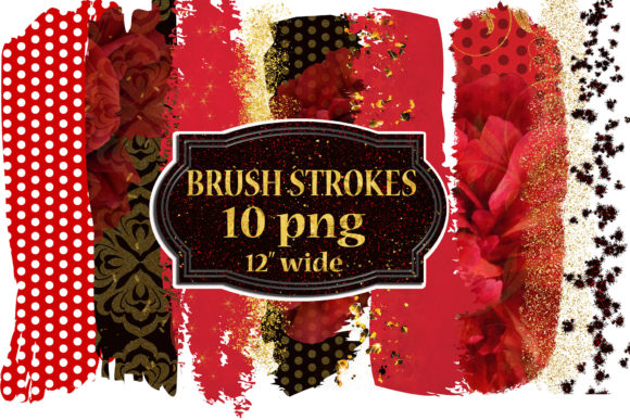 Brush Stroke Clipart, Gold Brush Strokes Graphic Crafts By ChiliPapers