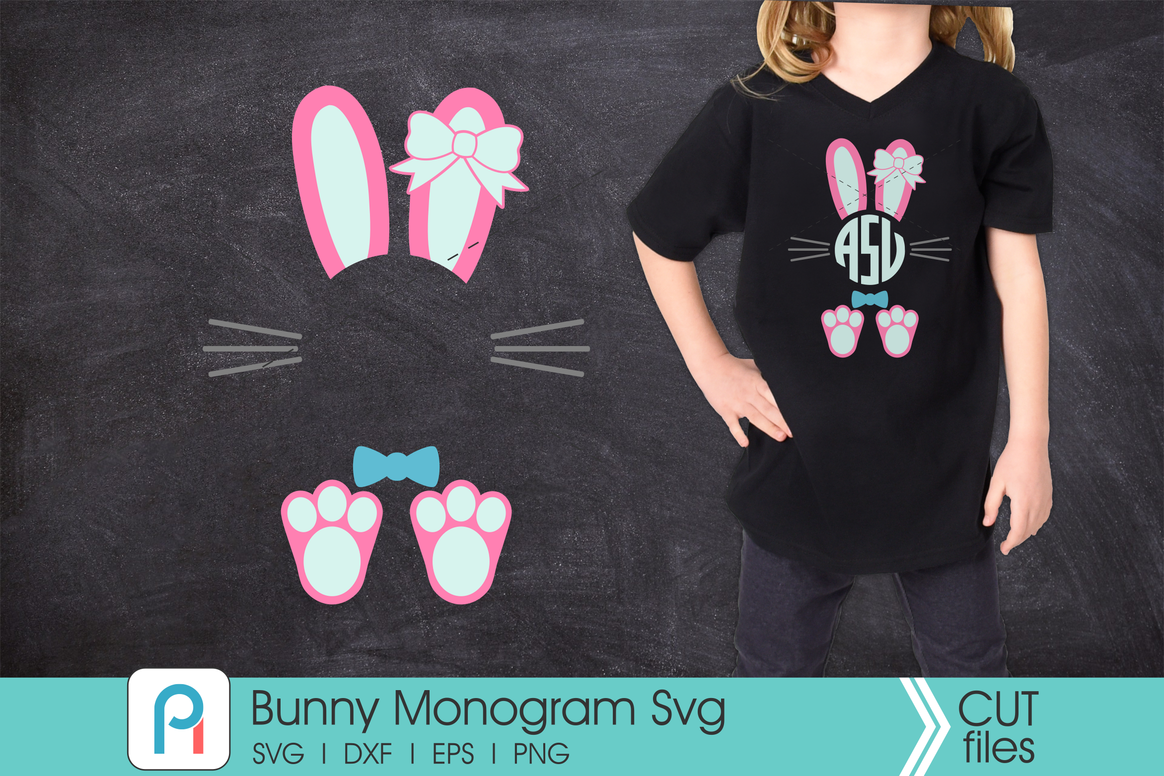 Download Free Bunny Monogram Graphic By Pinoyartkreatib Creative Fabrica for Cricut Explore, Silhouette and other cutting machines.