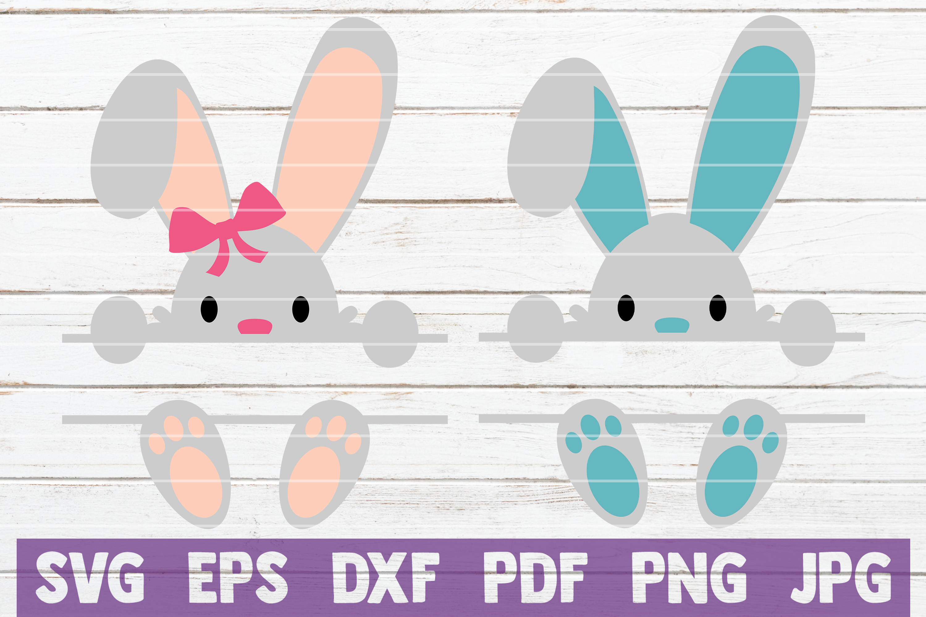 Download Free Bunny Monograms Cut Files Graphic By Mintymarshmallows for Cricut Explore, Silhouette and other cutting machines.