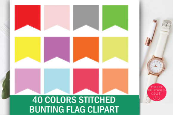 Download Free Bunting Flag Clipart Bunting Graphics Graphic By Happy for Cricut Explore, Silhouette and other cutting machines.