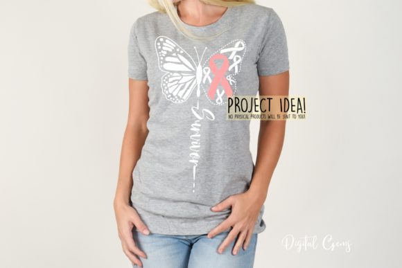 Download Free Butterfly Breast Cancer Survivor Graphic By Digital Gems for Cricut Explore, Silhouette and other cutting machines.