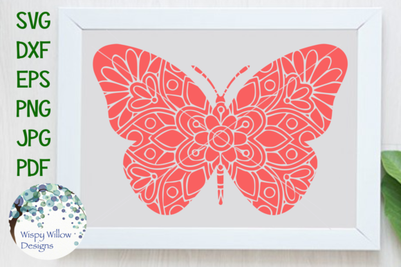 Download Free Butterfly Mandala Graphic By Wispywillowdesigns Creative Fabrica for Cricut Explore, Silhouette and other cutting machines.