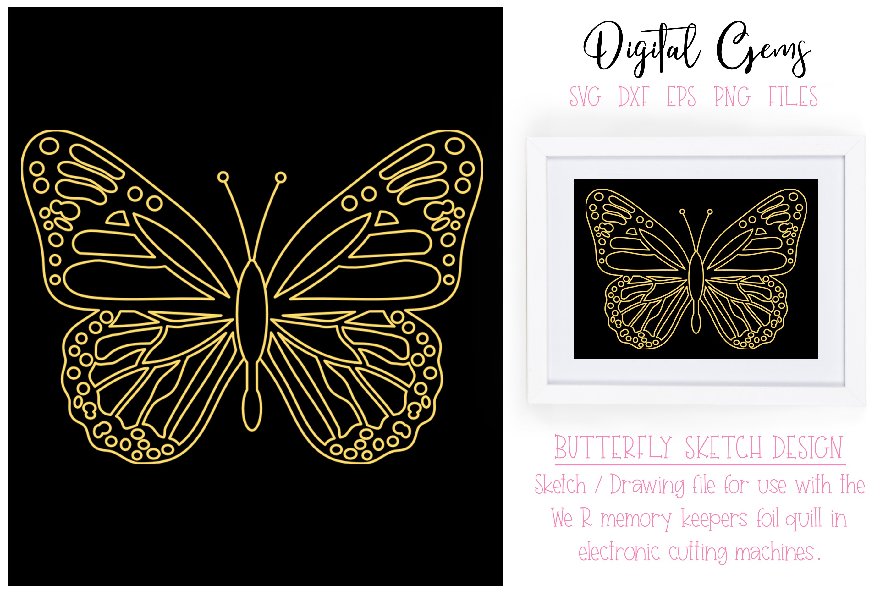 Download Free Butterfly Sketch Graphic By Digital Gems Creative Fabrica for Cricut Explore, Silhouette and other cutting machines.