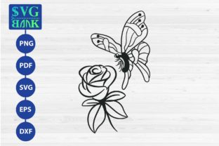 Butterfly and Flower Graphic By svgBank