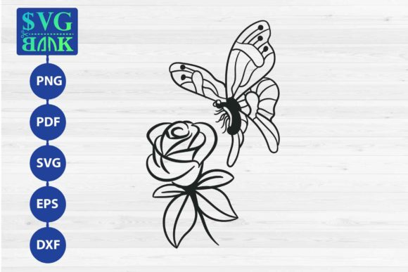 Download Free Butterfly And Flower Graphic By Svgbank Creative Fabrica for Cricut Explore, Silhouette and other cutting machines.