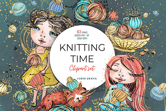 Knitting Time Clipart Set Graphic By Ramandu Creative Fabrica