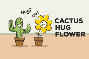 Download Free Cactus Hug Flower Vector Illustration Graphic By Peterdraw for Cricut Explore, Silhouette and other cutting machines.