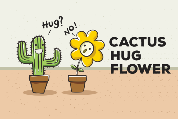 Print on Demand: Cactus Hug Flower Vector Illustration Graphic Illustrations By peterdraw