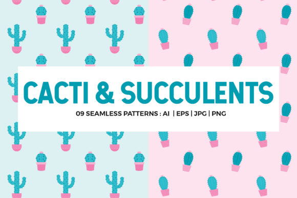 Cactus Seamless Patterns Collection Graphic Patterns By abstractocreate
