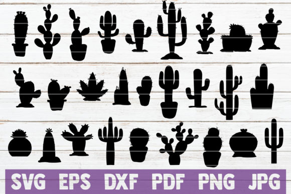 Cactus Silhouettes Bundle | Cut File Gráfico Crafts Por MintyMarshmallows
