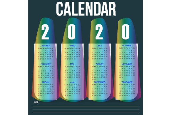 Download Free Calendar 2020 Template Simple And Clean Graphic By Babeh for Cricut Explore, Silhouette and other cutting machines.