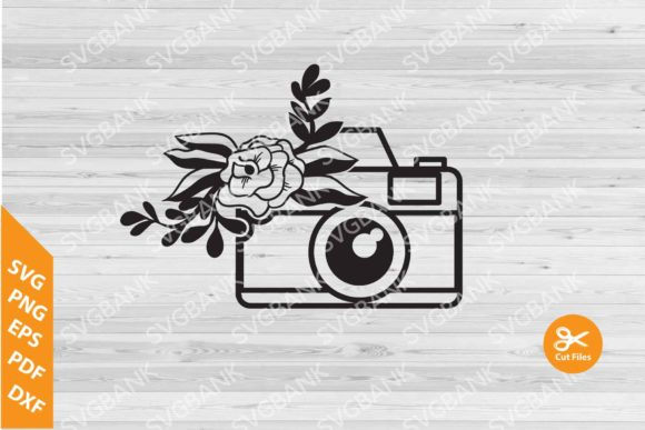 Print on Demand: Camera with Flower Graphic Crafts By svgBank
