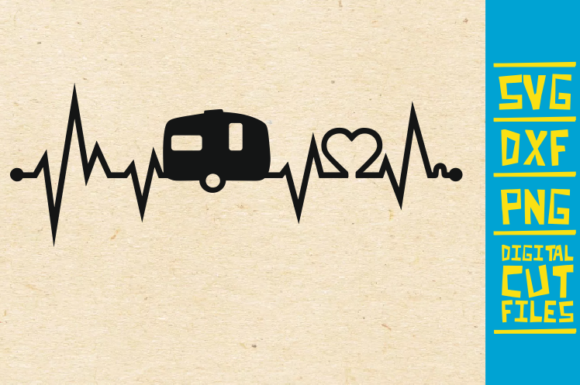 Download Free Camping Heart Beat Caravan Graphic By Svgyeahyouknowme for Cricut Explore, Silhouette and other cutting machines.