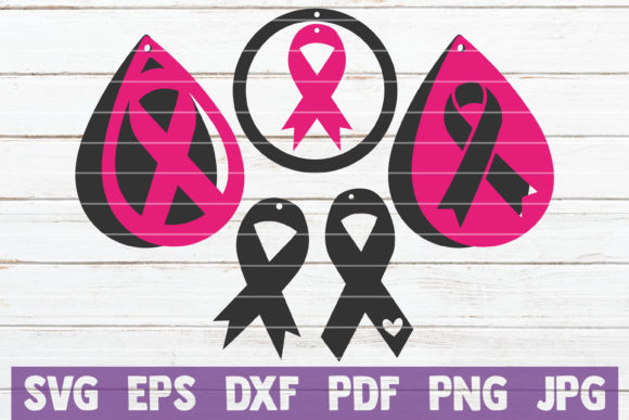 Cancer Awareness Earrings SVG Bundle Graphic Graphic Templates By MintyMarshmallows