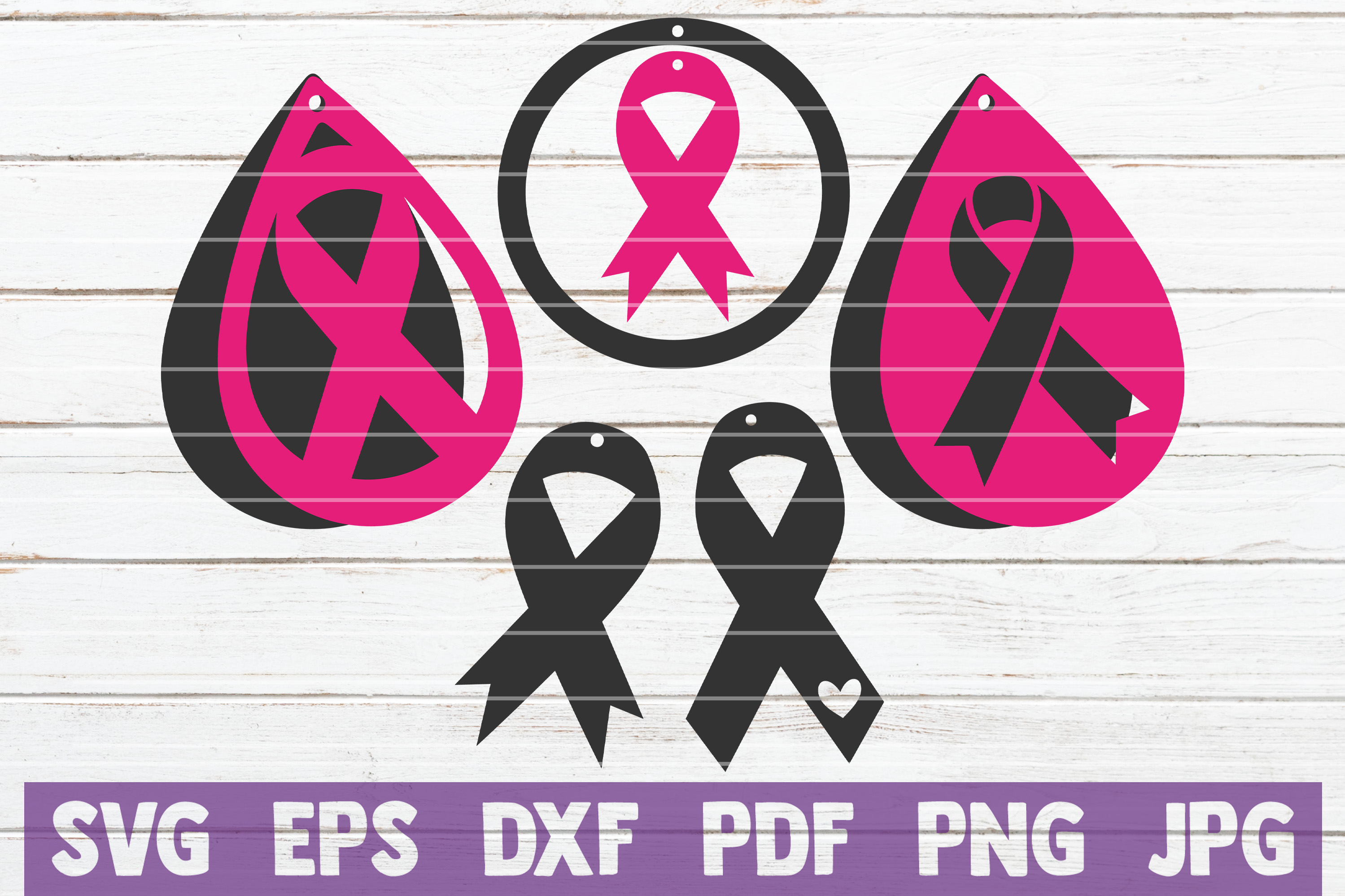 Download Free Cancer Awareness Earrings Svg Bundle Graphic By for Cricut Explore, Silhouette and other cutting machines.