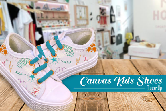Canvas Kids Shoes Mock-Up Graphic By gumacreative Image 1