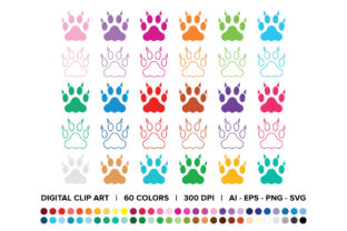 Cat Claw Paw Print Clip Art Set Graphic By Running With Foxes
